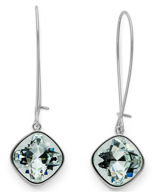 Swarovski | Blue Earrings, Rhodium-plated Cushion Cut Light Azore Crystal Drop Earrings | Lyst