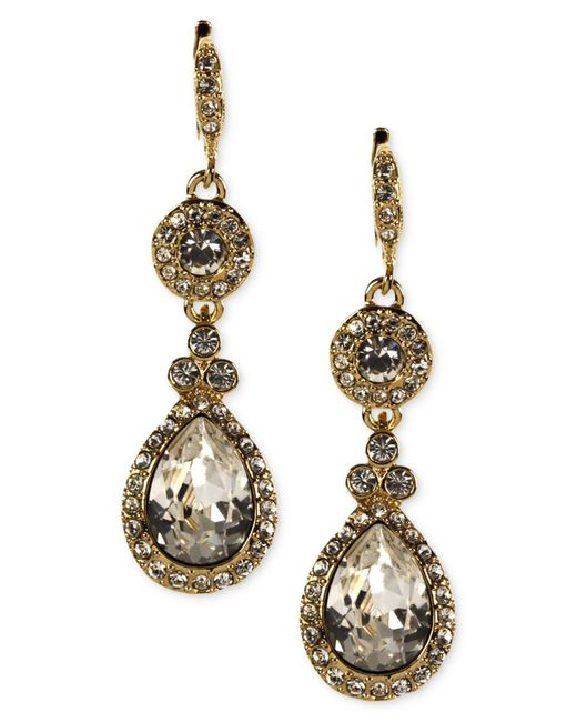 Givenchy | Metallic Earrings, Gold-tone Swarovski Element Teardrop Earrings | Lyst