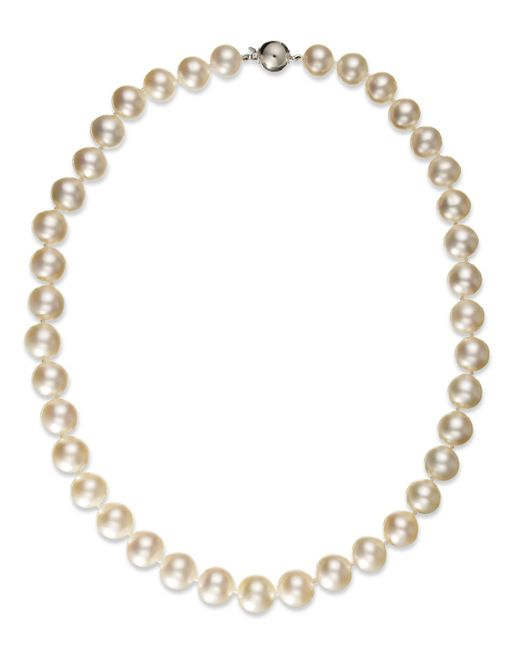 Macy's | Multicolor Pearl Necklace, 14k White Gold White Cultured South Sea Pearl Strand Necklace (10-12mm) | Lyst
