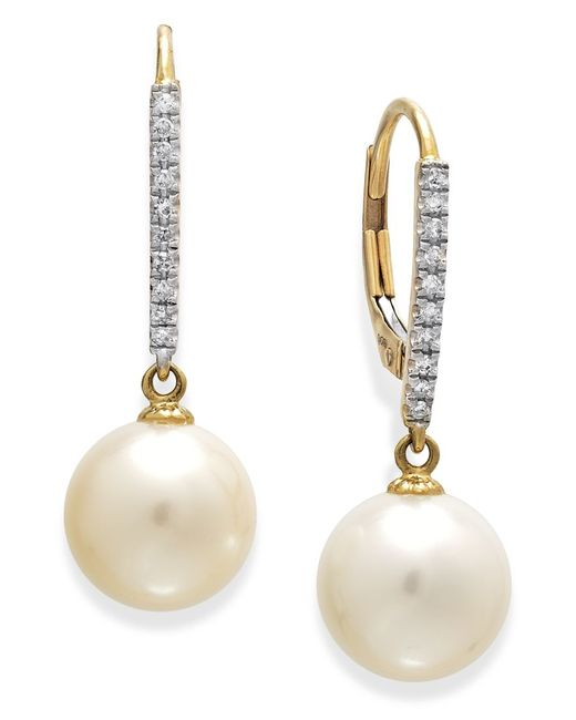 Macy's | Metallic 14k White Gold Earrings, Cultured Freshwater Pearl (10mm) And Diamond ( 1/10 Ct.t.w) Leverback Earrings | Lyst