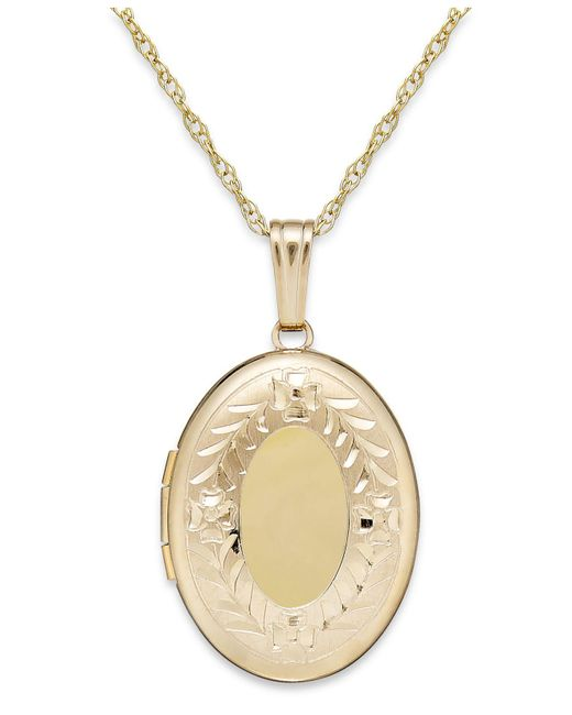 Macy's - Metallic Engraved Oval Locket In 14k Gold - Lyst