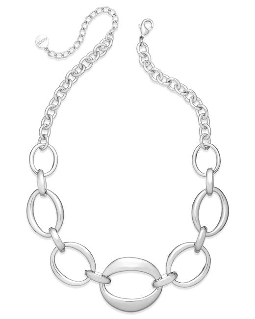 Charter Club   Metallic Silver-tone Oval Chain Frontal Necklace   Lyst