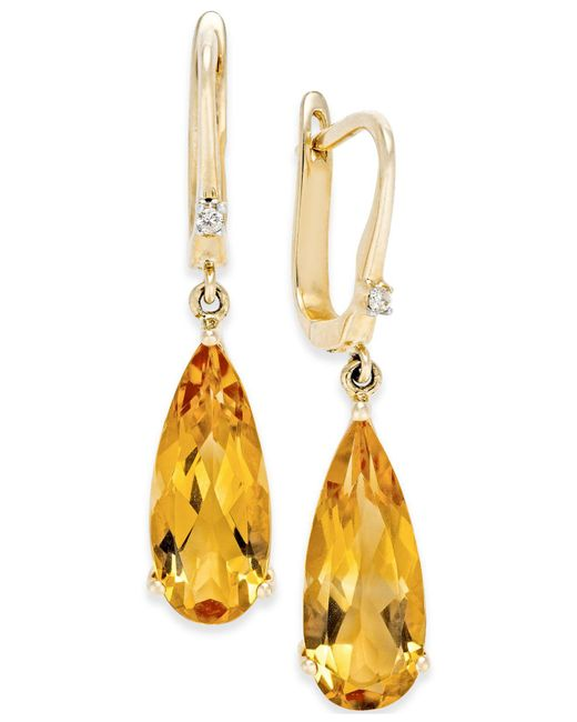 Macy's - Metallic Citrine (5 Ct. T.w.) And Diamond Accent Drop Earrings In 14k Gold - Lyst