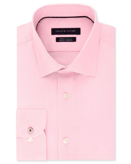 05dbec06bc631 Tommy Hilfiger - Pink Slim-fit Non-iron Performance Stretch Check Dress  Shirt for ...