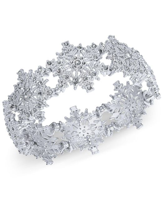 Charter Club - Metallic Silver-tone Crystal Snowflake Stretch Bracelet, Created For Macy's - Lyst