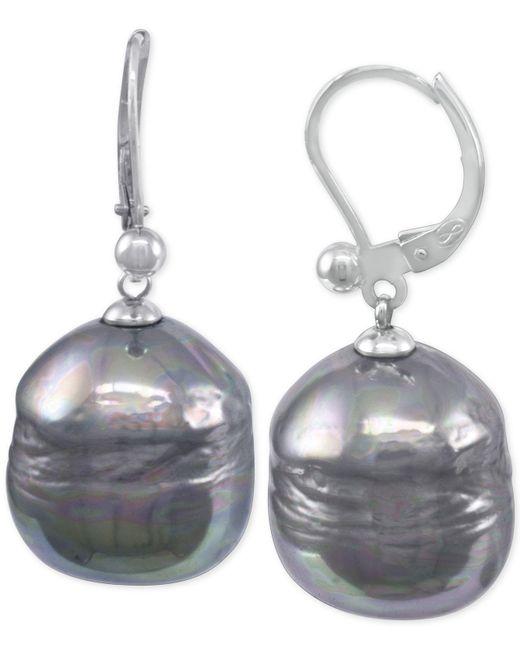 Majorica | Metallic Sterling Silver Black Baroque Pearl (12mm) Drop Earrings | Lyst