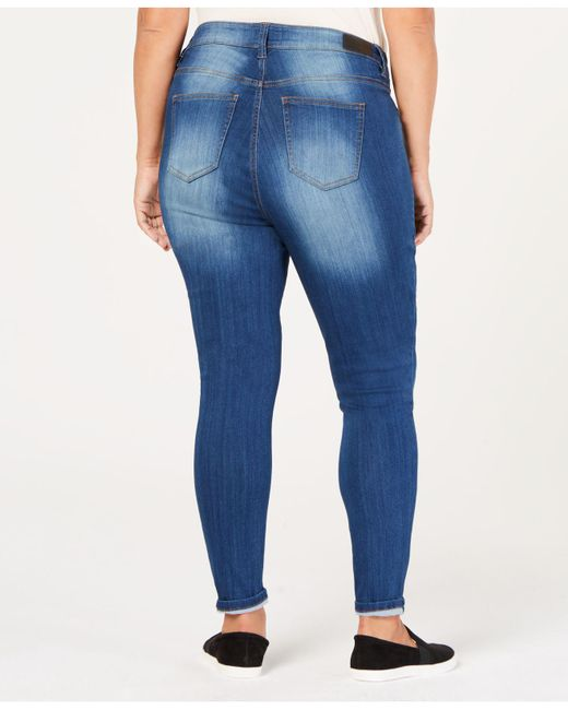 2862bf89fdc36 ... Celebrity Pink - Blue Plus Size Raw-hem Skinny Ankle Jeans - Lyst ...