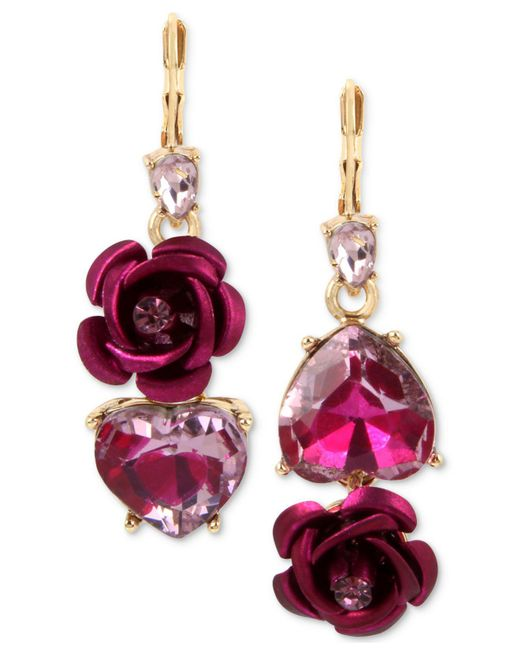 Betsey Johnson | Two-tone Pink Crystal Heart & Flower Mismatch Earrings | Lyst