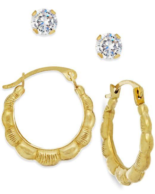 Macy's - Metallic Cubic Zirconia And Ribbed Hoop Earring Set In 10k Gold - Lyst