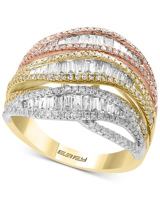 Effy Collection - Metallic Effy® Diamond Tri-color Statement Ring (1-3/8 Ct. T.w.) In 14k Gold, White Gold & Rose Gold - Lyst