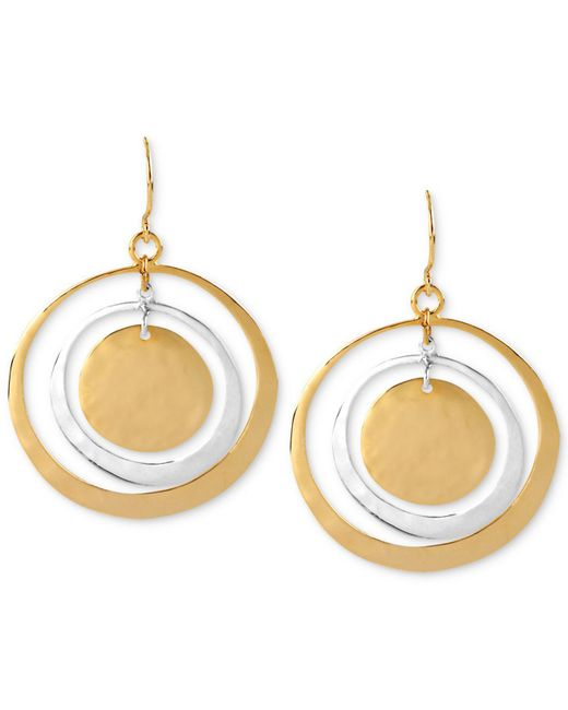 Robert Lee Morris | Metallic Earrings, Two-tone Hammered Circle Orbital Earrings | Lyst