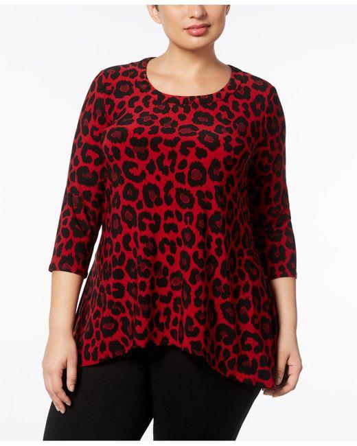 Anne Klein | Red Plus Size Animal-print Tunic | Lyst