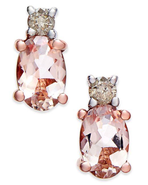 Macy's - Metallic Morganite (9/10 Ct. T.w.) And Diamond (1/10 Ct. T.w.) Drop Earrings In 14k Rose Gold - Lyst