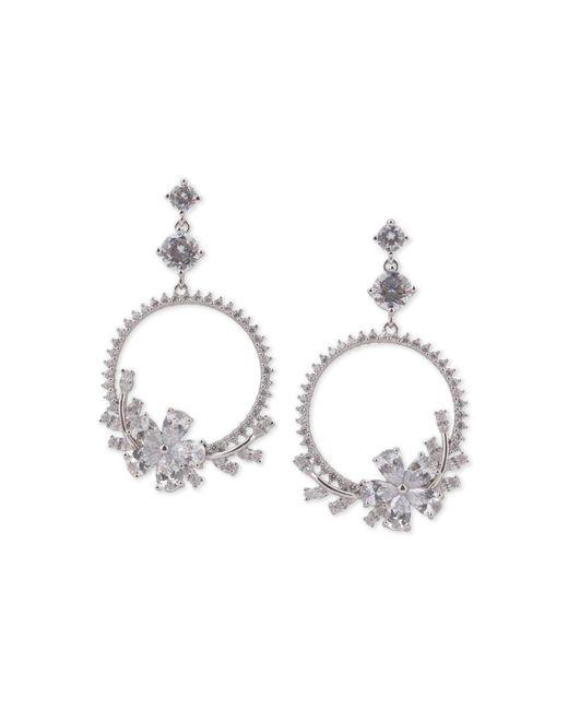 Nina - Metallic Silver-tone Crystal Flower Drop Hoop Earrings - Lyst