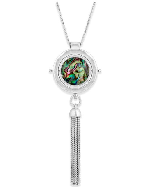Lucky Brand | Metallic Silver-tone Reversible Abalone & White Stone Chain Tassel Pendant Necklace | Lyst