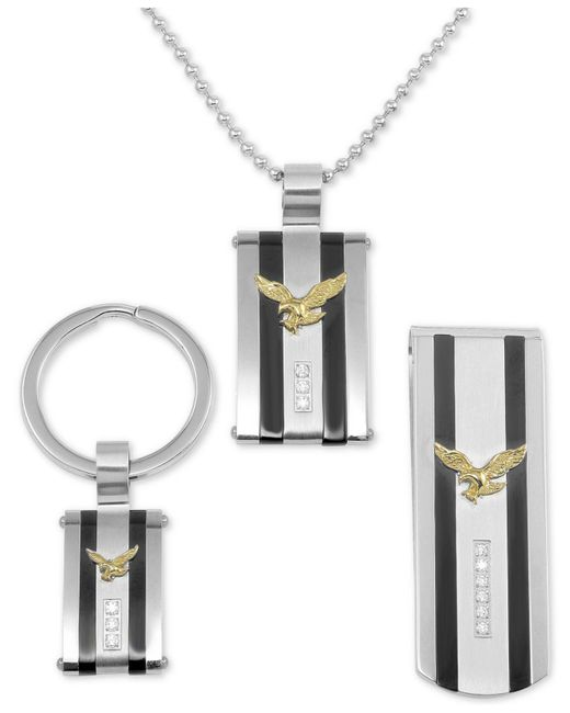 Macy's - Metallic 3-pc. Set Cubic Zirconia Striped Eagle Dog Tag Pendant Necklace, Key Chain & Money Clip In Stainless Steel - Lyst