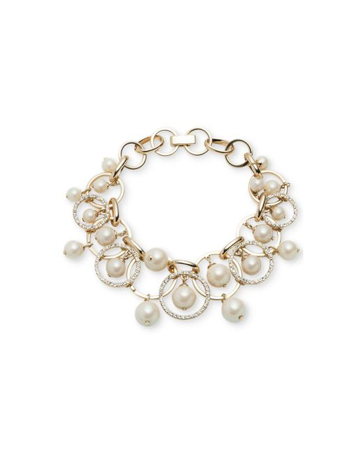 Carolee - White Gold-tone Imitation Pearl Shaky Link Bracelet - Lyst