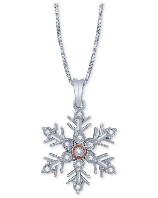 Macy's - Metallic Diamond Accent Snowflake Pendant Necklace In Sterling Silver & 14k Rose Gold - Lyst