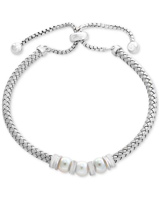Effy Collection   Metallic Cultured Freshwater Pearl (6mm) Slider Bracelet In Sterling Silver   Lyst