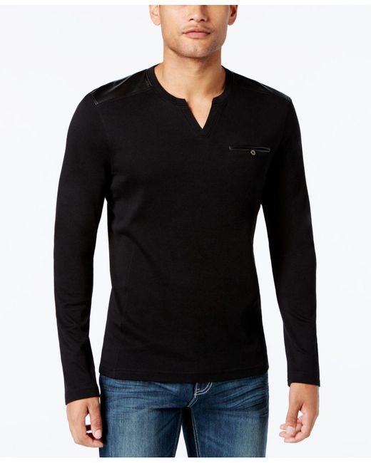 INC International Concepts | Black Collude Split-neck Shirt for Men | Lyst