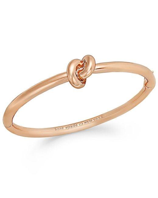 Kate Spade | Metallic Bracelet, 12k Gold-plated Sailor's Knot Hinge Bangle Bracelet | Lyst