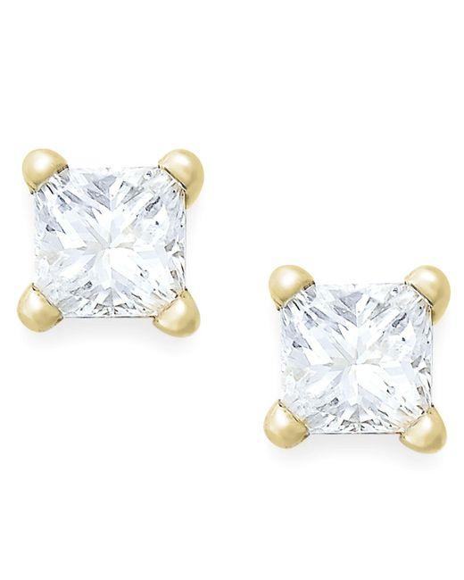 Macy's | Metallic Princess-cut Diamond Stud Earrings In 10k White Gold (1/6 Ct. T.w.) | Lyst