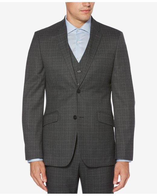 Perry Ellis - Metallic Slim-fit Washable Plaid Jacket for Men - Lyst
