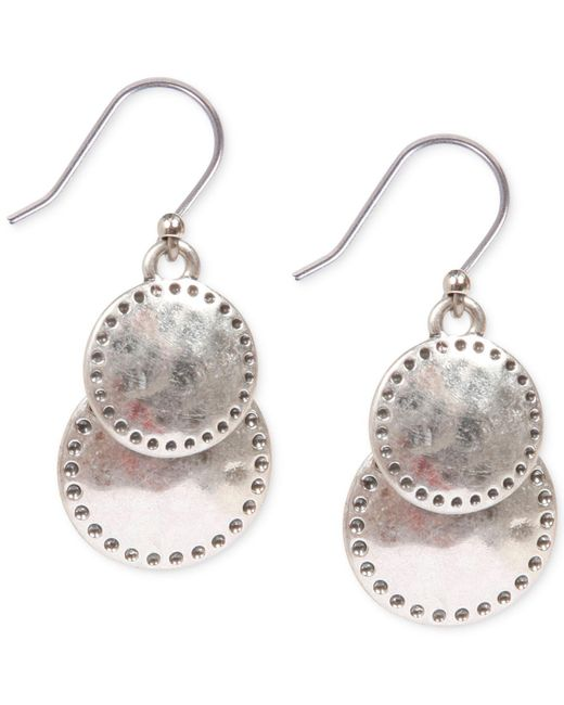 Lucky Brand | Metallic Silver-tone Double Drop Earrings | Lyst