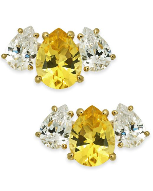 Danori - Yellow Crystal & Stone Stud Earrings, Created For Macy's - Lyst
