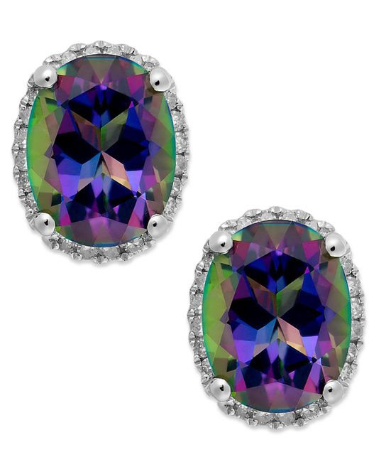 Macy's - 14k White Gold Mystic Topaz (4 Ct. T.w.) And Diamond (1/6 Ct. T.w.) Stud Earrings - Lyst