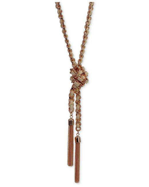 Guess - Metallic Silver-tone Woven Blue Twisted Tassel Lariat Necklace - Lyst