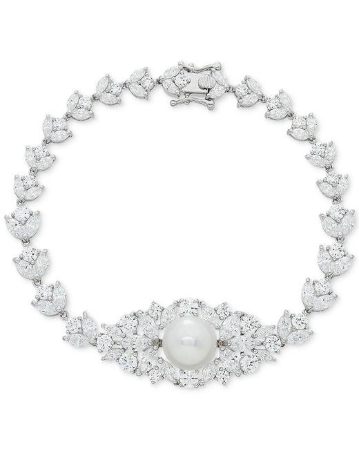 Arabella - Metallic Cultured Freshwater Pearl (10mm) & Swarovski Zirconia Orbital Link Bracelet In Sterling Silver - Lyst