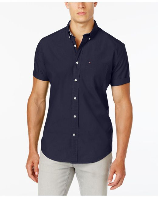Tommy Hilfiger - Blue Maxwell Short-sleeve Button-down Classic Fit Shirt, Created For Macy's for Men - Lyst