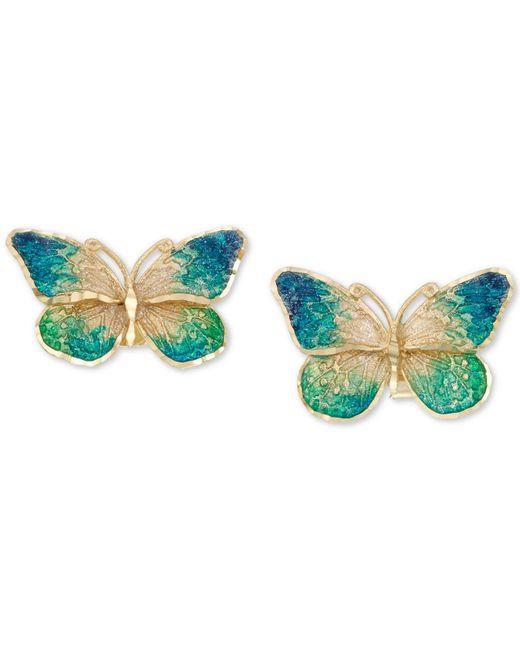 Macy's - Metallic Ceramic Butterfly Stud Earrings In 14k Gold - Lyst