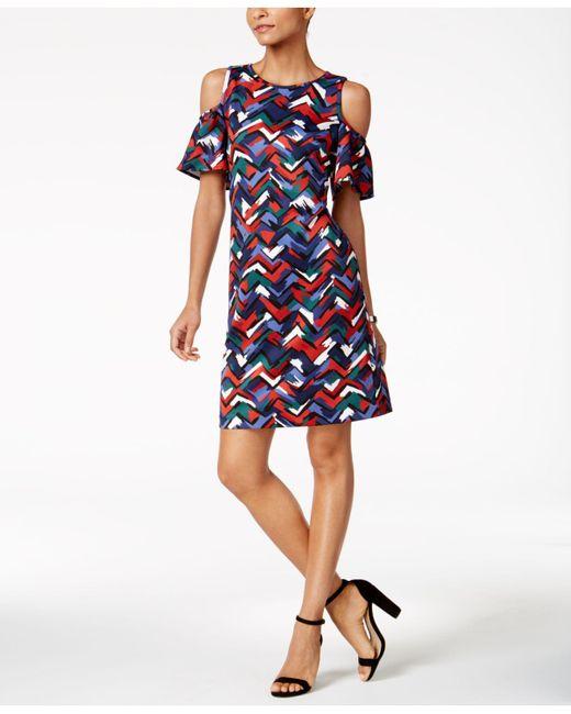 Nine West | Blue Printed Cold-shoulder Dress | Lyst
