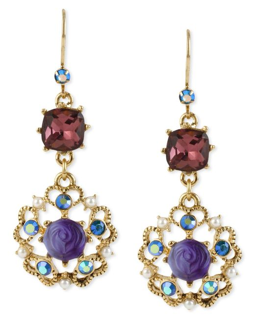 Betsey Johnson | Metallic Antique Gold-tone Flower Medallion Crystal Drop Earrings | Lyst