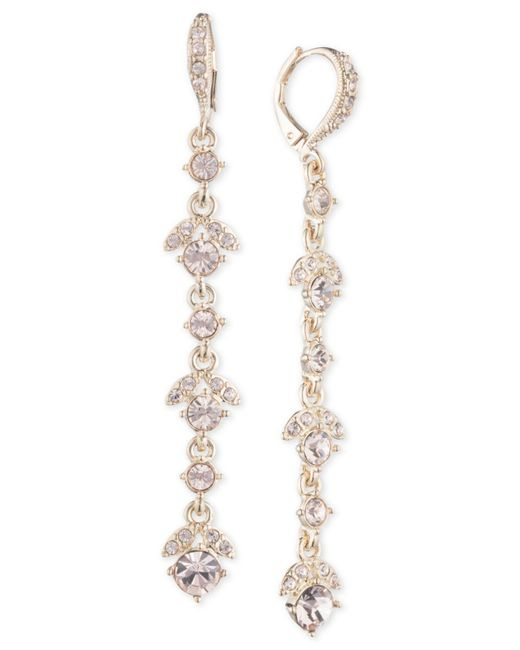 Givenchy - Metallic Crystal Linear Drop Earrings - Lyst