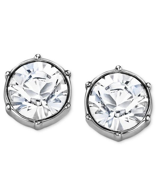 Swarovski | White Earrings, Rhodium-plated Crystal Round Stud Earrings | Lyst