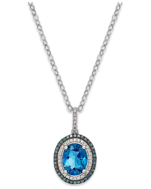 Macy's - London Blue Topaz (3 Ct. T.w.) And Diamond (1/4 Ct. T.w.) Pendant Necklace In 14k White Gold - Lyst