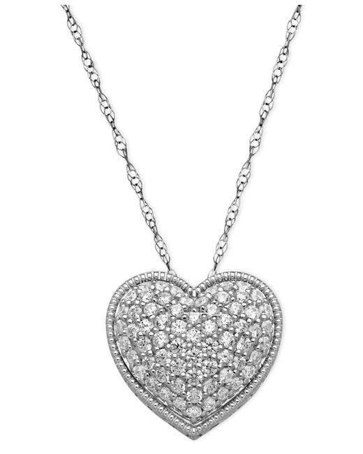 Arabella | Metallic Sterling Silver Necklace, White Swarovski Elements Heart Pendant (2-1/8 Ct. T.w.) | Lyst