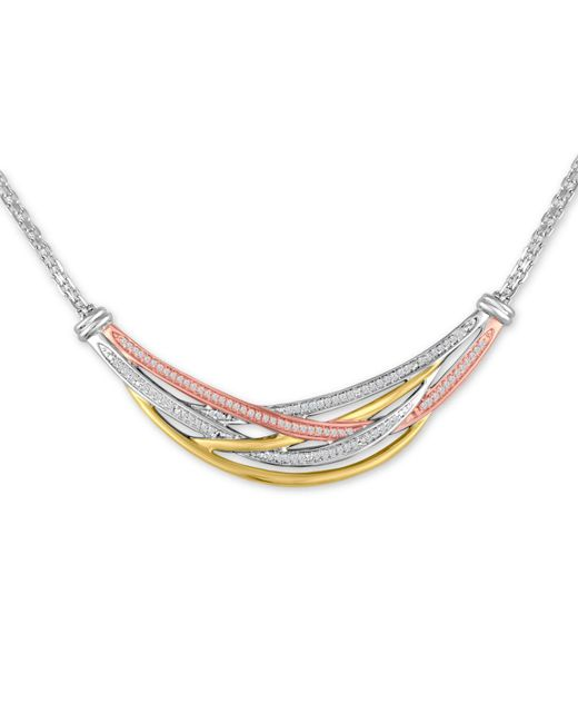 Macy's - Metallic Diamond Tri-color Weave Collar Necklace (1/4 Ct. T.w.) - Lyst