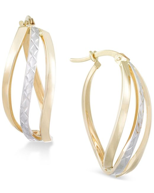 Macy's - Metallic Textured Two-tone Wavy Hoop Earrings In 14k Gold And White Gold - Lyst
