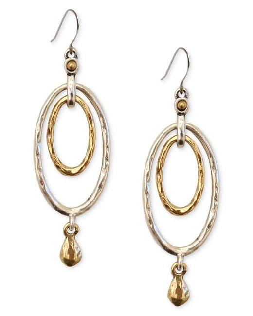 Lucky brand earrings two tone oval orbital drop earrings for Macy s lucky brand jewelry