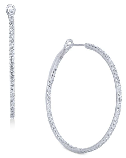 Macy's - Multicolor Diamond In & Out Hoop Earrings (1 Ct. T.w.) In 14k White Gold - Lyst