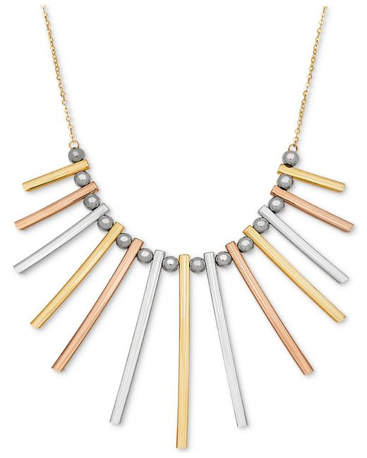Macy's - Metallic Tri-color Bar And Bead Statement Necklace In 14k Gold, White Gold & Rose Gold - Lyst