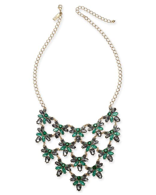 "INC International Concepts - Metallic I.n.c. Gold-tone Crystal Cluster Statement Necklace, 18"" + 3"" Extender, Created For Macy's - Lyst"