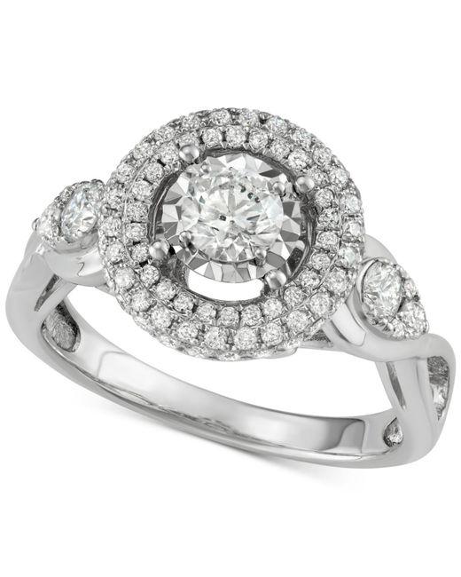Macy's - Metallic Diamond Halo Ring (1-1/7 Ct. T.w.) In 14k White Gold - Lyst