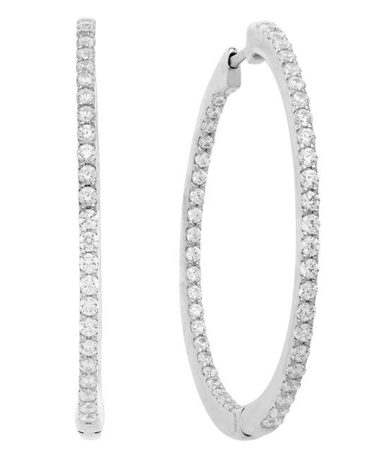 Arabella | Metallic Sterling Silver Earrings, White Swarovski Zirconia Hoop Earrings (2-3/8 Ct. T.w.) | Lyst