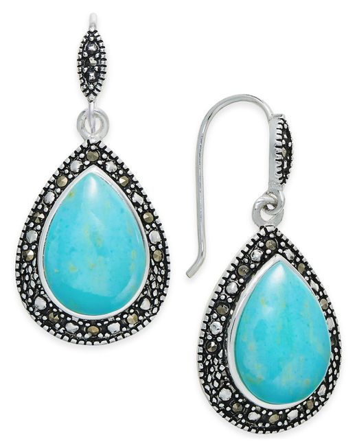 Macy's - Blue Manufactured Turquoise & Marcasite Teardrop Drop Earrings In Silver-plate - Lyst