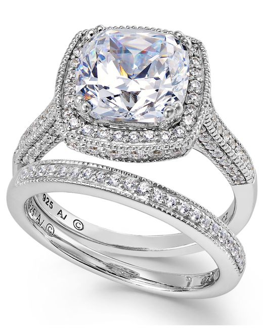 Arabella | Metallic Sterling Silver Ring Set, Swarovski Zirconia Bridal Ring And Band Set (7-5/8 Ct. T.w.) | Lyst